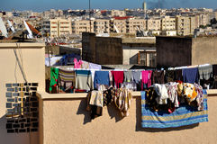 Drying Clothes on the Rooftops Stock Photography