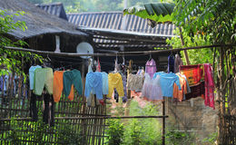 Drying clothes at small house in Lai chau province, Vietnam Stock Image