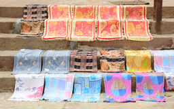 Drying clothes on street in Varanasi, India.  Stock Photo