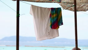 Drying clothes in umbrella on beach. N stock video footage