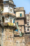 Drying cloths in Varanasi. A typical scene from Varanasi New Delhi Royalty Free Stock Image