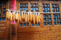Drying corns at farmhouse, China Royalty Free Stock Photos