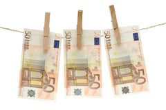 Drying Fifty Euro Bills Royalty Free Stock Photography