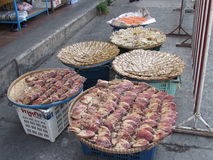 Drying Fish and Food in Pattaya Thailand. Drying squid, fish and seafood in Pattaya Thailand Royalty Free Stock Image