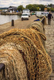 Drying fishing nets. At the harbor in Honfleur, France Royalty Free Stock Photography