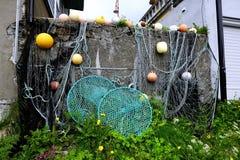 Drying fishing nets Royalty Free Stock Image