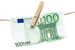 Drying Green Euro Bill Royalty Free Stock Photography