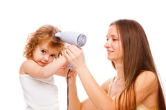 Drying hair Royalty Free Stock Photography
