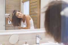 Drying hair Royalty Free Stock Images