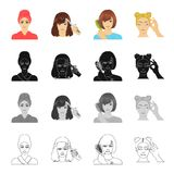 Drying hair, perming the bangs, combing and care, dyeing eyelashes. Make-up and hair care set collection icons in. Cartoon black monochrome outline style vector Stock Images