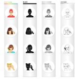 Drying hair, perming the bangs, combing and care, dyeing eyelashes. Make-up and hair care set collection icons in. Cartoon black monochrome outline style vector Stock Photography