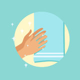 Drying hands with a towel round vector Illustration. On a light blue background royalty free illustration