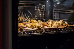 Drying honey fungus. In an electric oven Royalty Free Stock Image