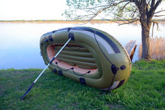 Drying inflatable boat Stock Photography