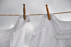 Drying laced underwear on clothesline Stock Photos