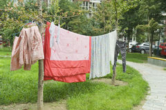 Drying laundry Stock Images