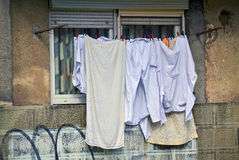 Drying laundry on a clothesline Stock Image