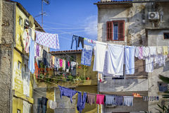 Drying laundry in coastal towns Stock Photography
