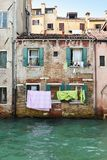 Drying laundry in colorful Venice Royalty Free Stock Photos
