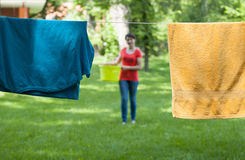 Drying laundry in a garden Royalty Free Stock Image