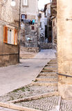 Drying laundry in narrow streets, Scanno, Italy Stock Image