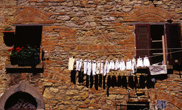 Drying laundry outside Royalty Free Stock Images