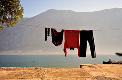 Drying laundry outside at the sea Stock Photography