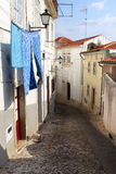 Drying laundry in portuguese city of Coimbra Royalty Free Stock Photo