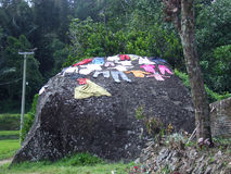 Drying the laundry on a rock in Tana Toraja Stock Image