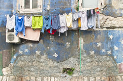 Drying linen. Outside an old house in Kotor, Montenegro Royalty Free Stock Photo