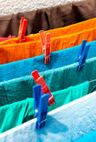 Drying linen on the street in Greece Royalty Free Stock Photo