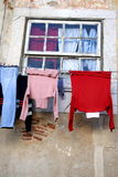 Drying loundry. In old Lisbon, Portugal Stock Photography