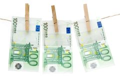 Drying One Hundred Euro Bills Royalty Free Stock Photography