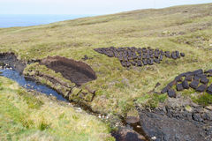 Drying peat. In the highlands of cape Rua Reidh, Scotland Stock Photography