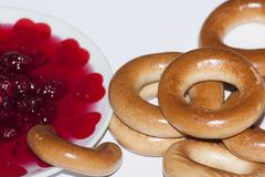 bagels with a plate of jam royalty free stock images