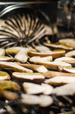 Drying porcini. Porcini mushrooms drying in the oven Stock Images