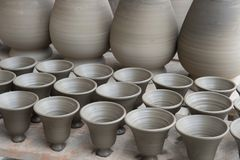 Drying pottery Royalty Free Stock Photos
