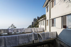 Drying quilts. Hotel drying quilts.This photo was taken in Mt. Sanqingshan.Photo taken on:Oct 21th,2015 Royalty Free Stock Photos
