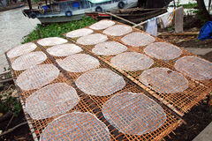 Drying rice paper. Outside in the mekong delta stock photo