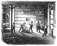 The drying room at a printing company. Engraving of workers at a printing company hanging up marbled paper in the drying room. From The Harper Establishment, by Stock Image