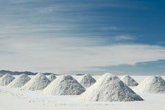 Drying salt piles at Salar de Uyuni Royalty Free Stock Image