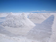 Drying salt piles on the Salar de Uyuni Stock Images
