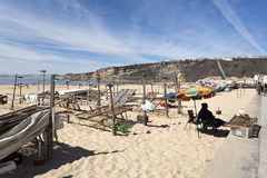 Drying and Selling Fish in Nazare Stock Photos