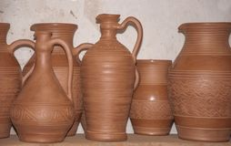 Drying the set of new pottery before burning concept of traditional art royalty free stock image
