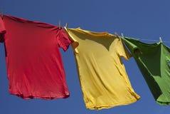 Drying of shirts. Stock Photos