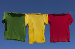 Drying of shirts. Stock Images