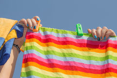 Drying of things in nice and sunny day. Royalty Free Stock Photography