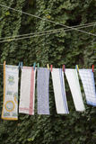 Drying towels on rope Royalty Free Stock Images