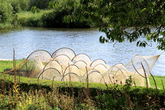 Drying traps along the edge of a dutch lake Stock Photography