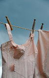 Drying underwear on clothesline. Drying old-fashoined tights, bra and corsets on clothesline Royalty Free Stock Images
